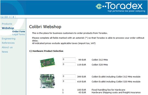 Toradex Colibri web shop - November 2005