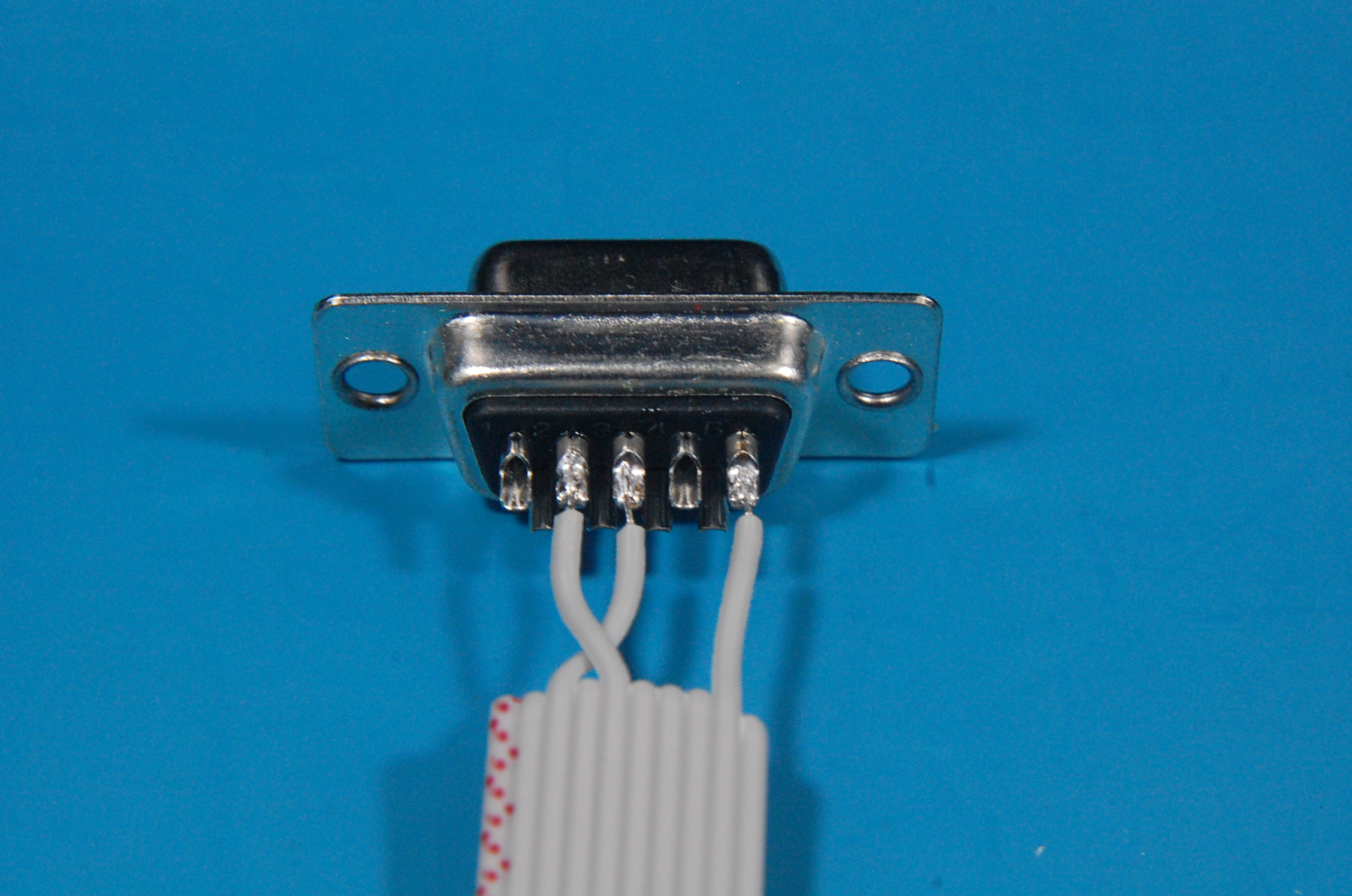 Ribbon cable soldered to the DB9 connector