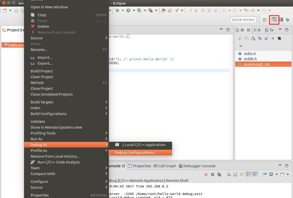 Configure the debug options