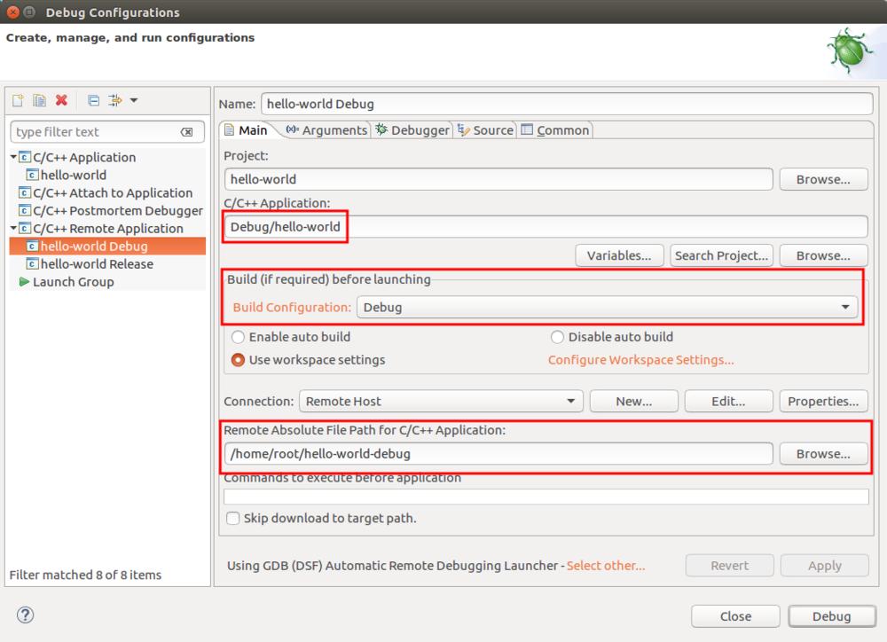 Main debug configuration tab