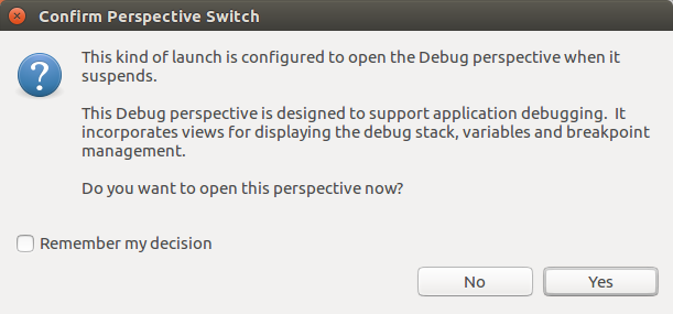 Warn about perspective switch to the debug mode