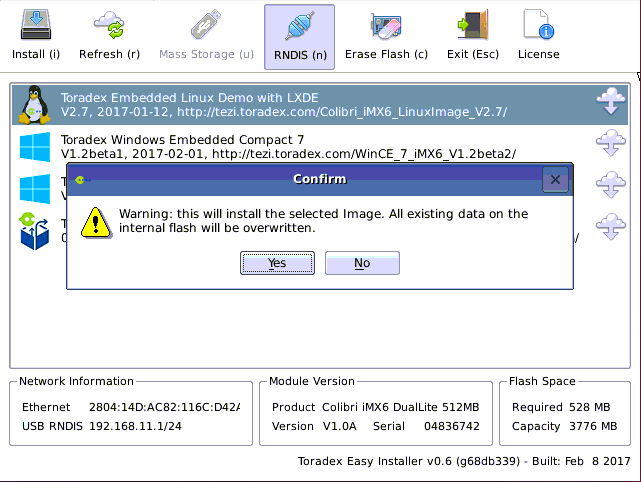 Confirm the Embedded Linux installation