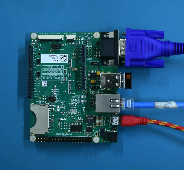 VGA, Ethernet, USB keyboard and USB micro-B to Type-A cable connected to the Carrier Board