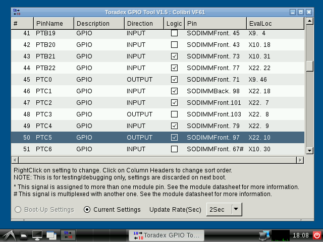 Logic checkbox toggled from GPIO tool