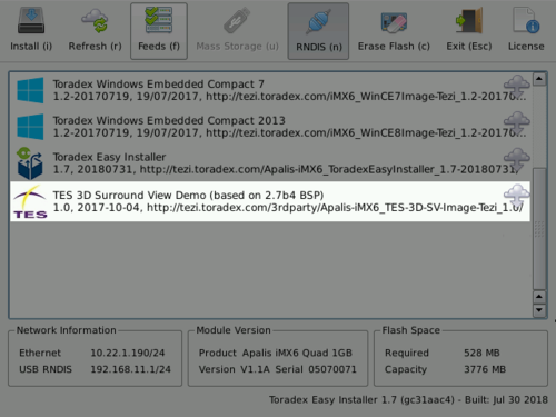 Installing TES 3D Surround View using the Toradex Easy Installer