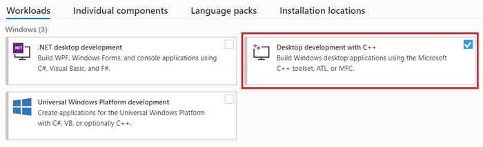 Select Desktop development with C++