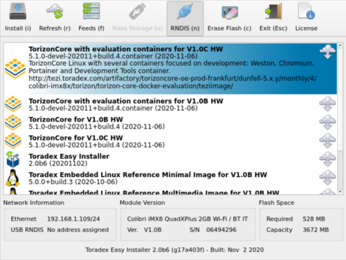 Torizon Image for Colibri iMX8X V1.0C and Newer