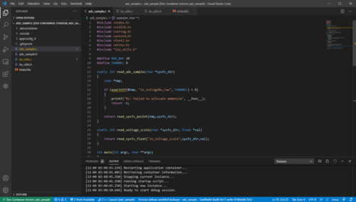 Sample C Project For ADC In VS Code With Torizon Extension