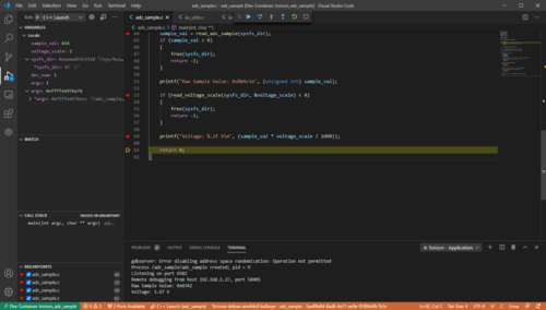 Debug Of Sample C Project For ADC In VS Code With Torizon Extension