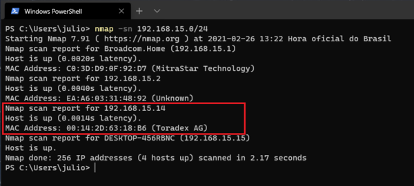 Using Nmap from to scan your local network