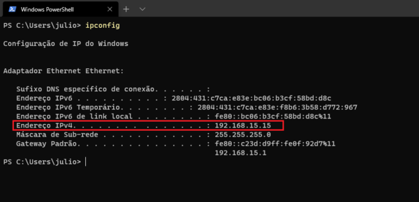 Using ipconfig to find the ipv4 adress